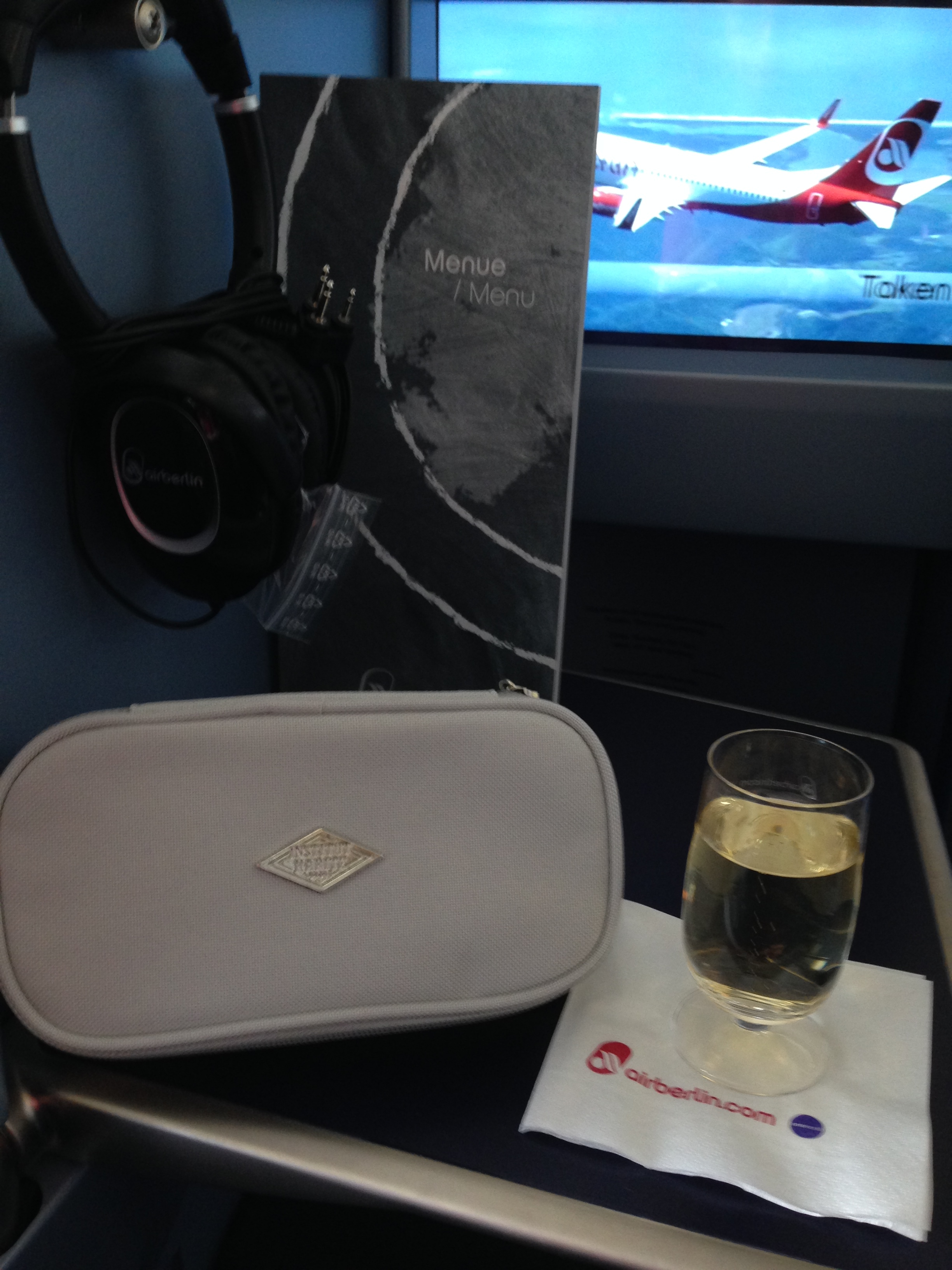 airberlin business class - lovely amenity kit, champagne & space