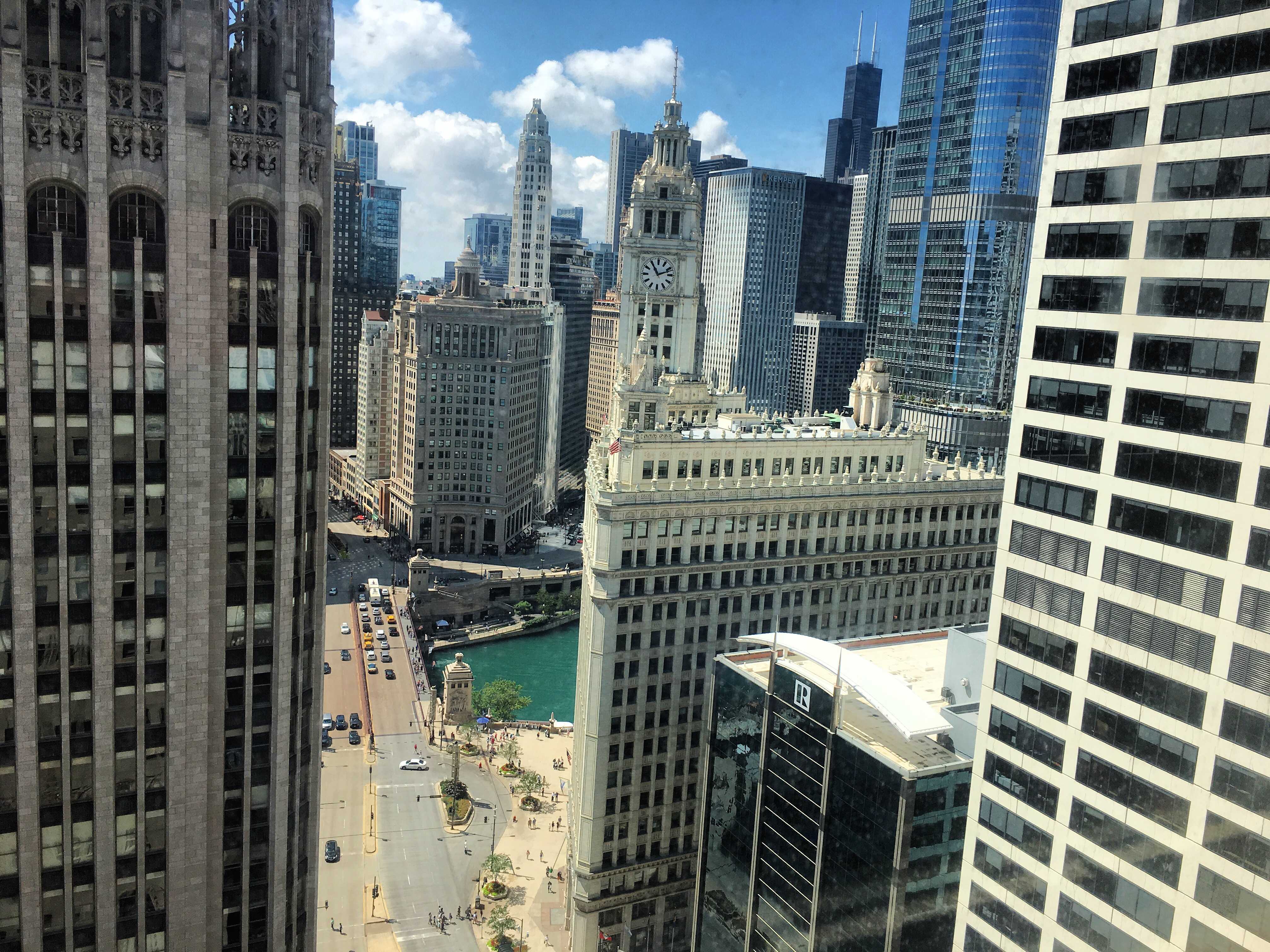 A view of the Magnificent Mile from above. Photo by Aimee Heckel